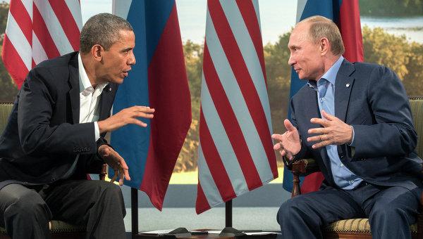 Президент России Владимир Путин (справа) и президент США Барак Обама. Архивное фото