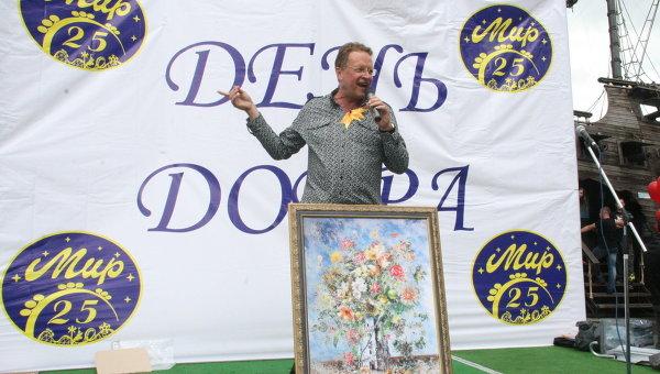 Олег Назаров с картиной Никаса Сафронова