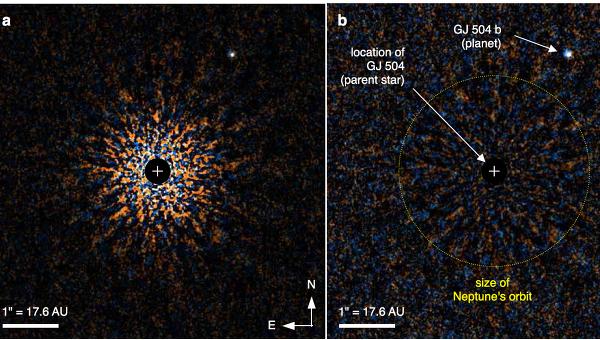 """Снимки планеты GJ 504 b, полученные при помощи инструментов телескопа """"Субару"""""""