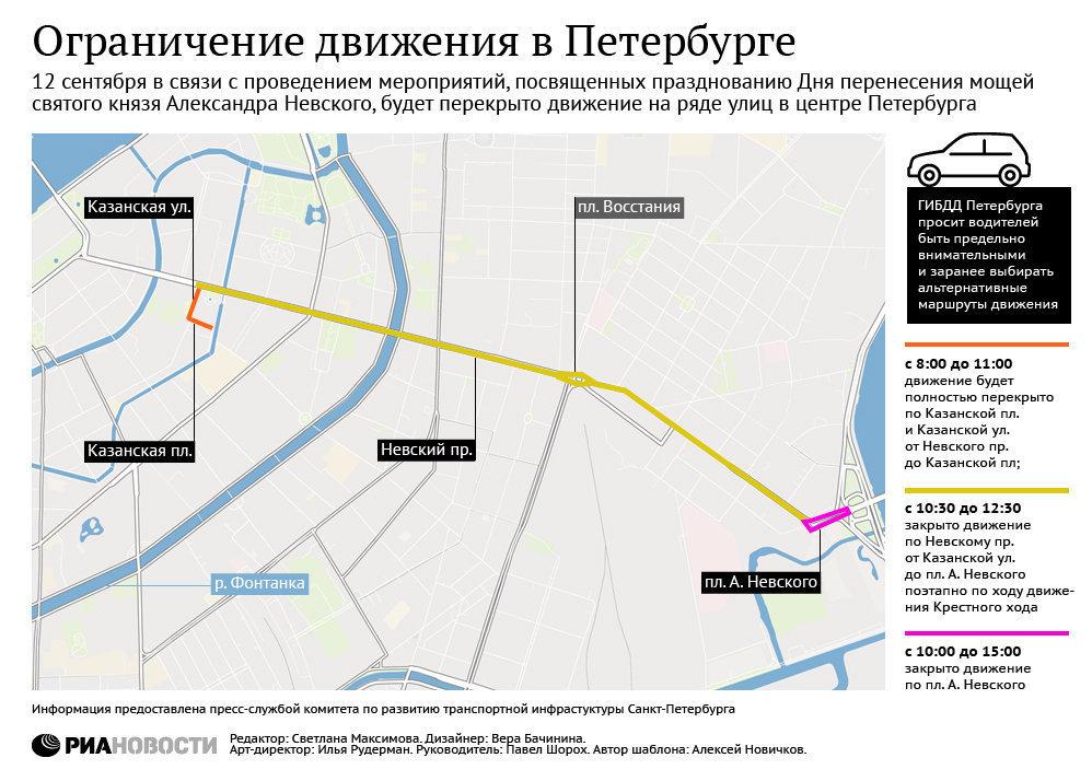 Ограничение движения в Петербурге во время крестного хода