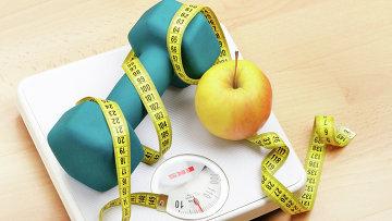 Весы, гантели и сантиметр