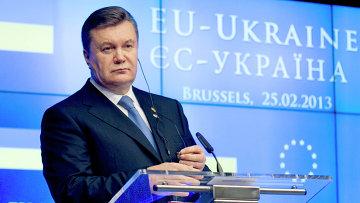 Президент Украины Виктор Янукович на XVI саммите Украина - Европейский Союз в Брюсселе.