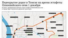 Перекрытие дорог в Томске на время эстафеты Олимпийского огня 1 декабря