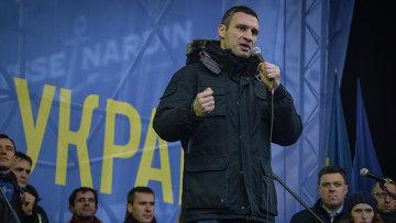 Лидер партии УДАР, боксер Виталий Кличко на митинге сторонников евроинтеграции Украины на площади Независимости в Киеве. Архивное фото