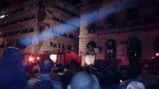 На месте взрыва возле управления полиции провинции Дакахлия в городе Эль-Мансура