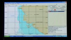 Маршрут задержанного в Сенегале судна Олег Найденов на экране Центра системы мониторинга рыболовства и связи.