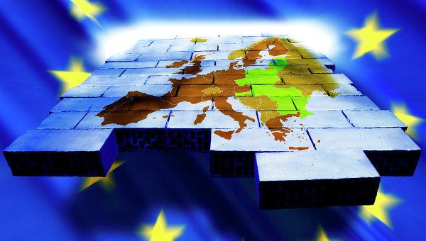 Карта Европы и символика Евросоюза, архивное фото