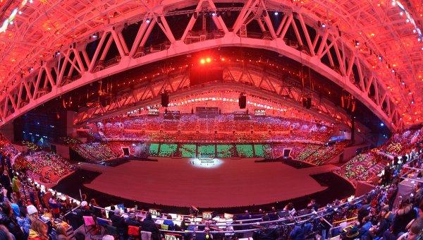 Стадион Фишт перед началом церемонии открытия XXII зимних Олимпийских игр в Сочи. Архивное фото