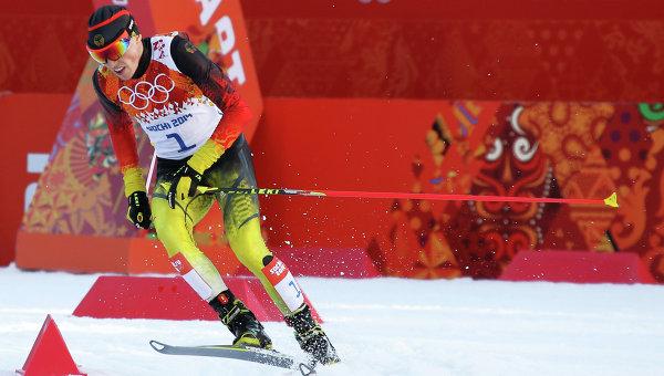 Эрик Френцель (Германия) на дистанции индивидуальной гонки в соревнованиях по лыжному двоеборью на ХХII зимних Олимпийских играх в Сочи