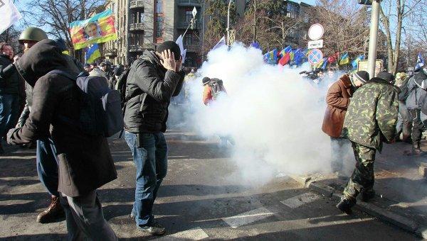 Столкновения у здания Верховной рады в центре Киева