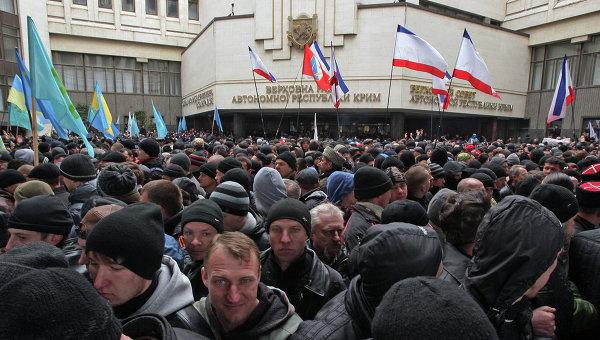 Митинги у здания Верховного совета Крыма, фото с места события