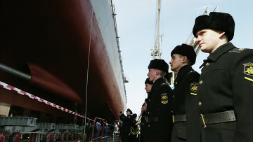 Спуск на воду фрегата Адмирал Григорович. Архивное фото