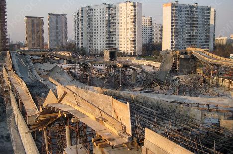 Обрушение перекрытий в строящемся паркинге в Москве