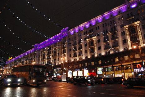 Улица Тверская, машины, центр, Москва