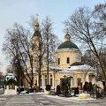 Церковь Ваганьковского кладбища и два дома при въезде на кладбище, 1822 г