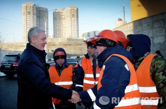 С. Собянин на открытии разворотного тоннеля на Каширском шоссе