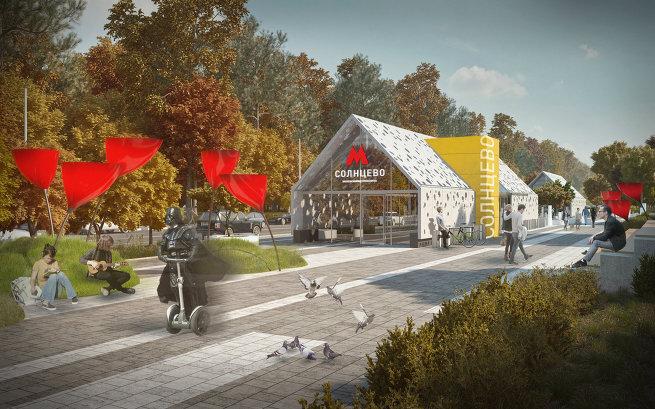 Дизайн вестибюля метро Солнцево
