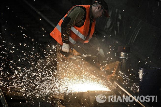 Ремонтные работы на станции Московского метрополитена