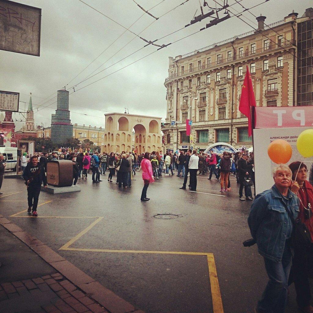 Праздничное оформление Тверской улицы в Москве