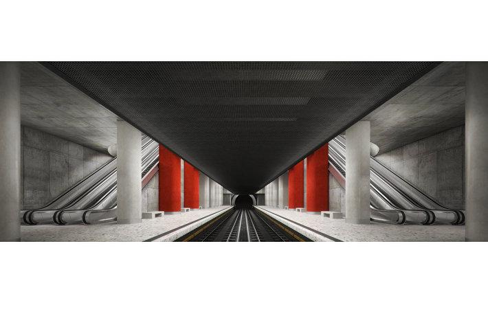 Проект станции Нижние Мневники архитектурного бюро Т. Башкаева (Россия)