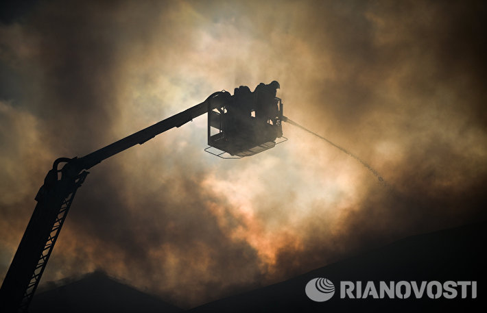 Пожар в здании Министерства обороны в Москве