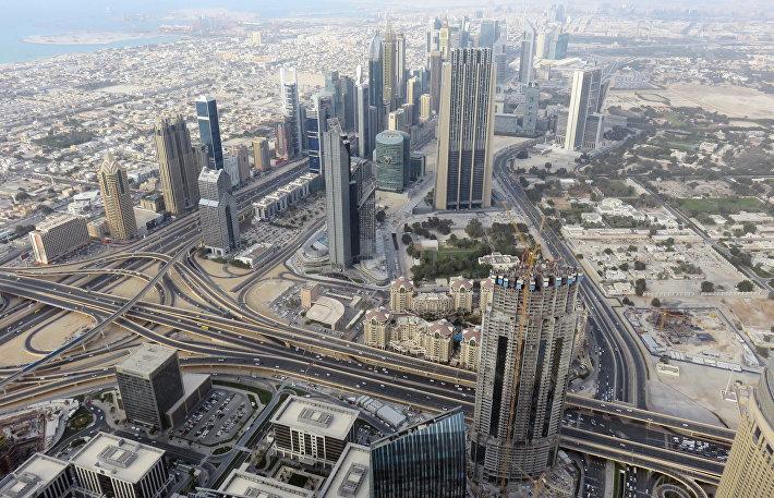 Вид со смотровой площадки Бурдж Халифа в Дубае