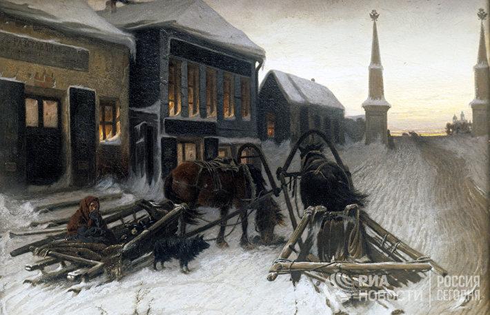 Репродукция картины В. Г. Перова Последний кабак у заставы