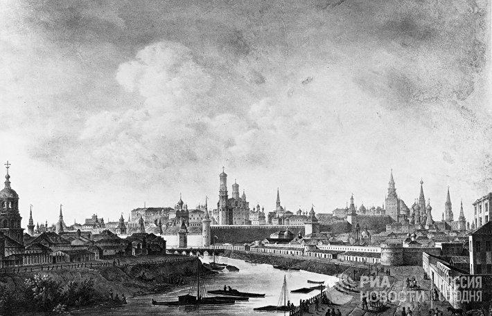 Литография Вид на Кремль